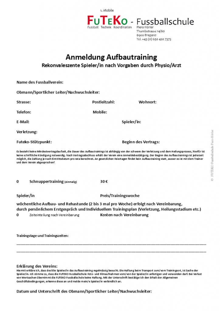 Anmeldung Aufbautraining