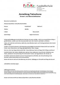 Anmeldung Trainerkurse